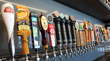 Beer taps at Riverview Restaurant & Brewhouse