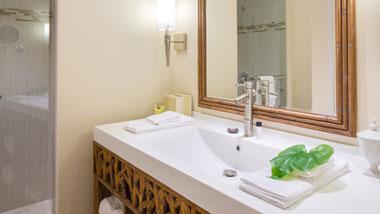 Margaritaville Resort Casino Standard Hotel Room bathroom shower and vanity